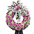 Funeral Pink and White Wreath