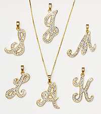 Gold Plated Sterling Silver Initial Pendant with Crystal Accents