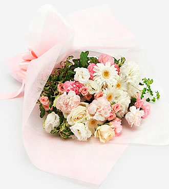 Mother's Day White and Pink Hand-Tied