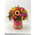24 Polychromatic roses & sunflowers