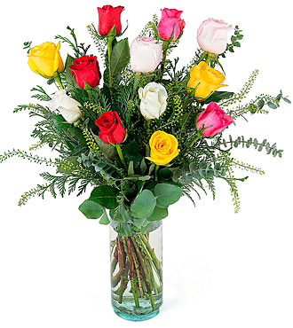 Capricho, 12 Long-Stemmed Multicolored Roses