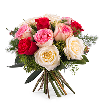 12 Short-stemmed Multicolored Roses