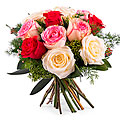 12 Short-stemmed Multicolored Roses