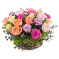 Centerpiece of Multicolored Roses