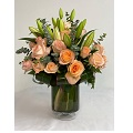 Vase with 25 roses & lilies