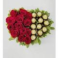 Heart with 13 roses & Ferrero's