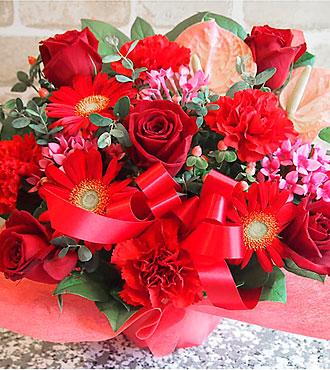Festive arrangement in red