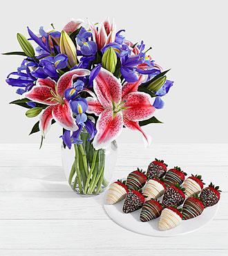 Joy Bouquet with 12 Birthday Strawberries