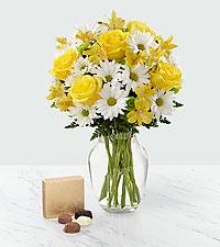 Bouquet et chocolatSunny Sentiments™