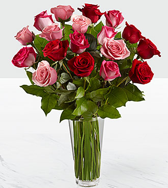Le bouquet de roses True Romance™ - VASE INCLUS