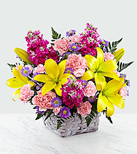 The FTD® Bright Lights Bouquet with Lavender Basket