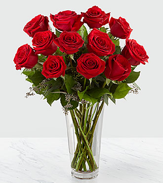 Long Stem Red Rose Bouquet - VASE INCLUDED