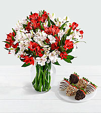 75 Blooms of Candy Cane Peruvian Lilies with 6 Fancy Strawberries