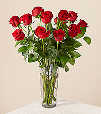 Long Stem Red Rose Bouquet – 12 Red Roses