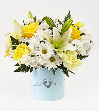 The FTD® Tiny Miracle™ New Baby Boy Bouquet - VASE INCLUDED