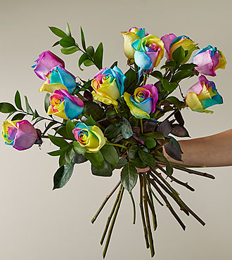 Time to Celebrate Rainbow Rose Bouquet -  12 Stems - No Vase