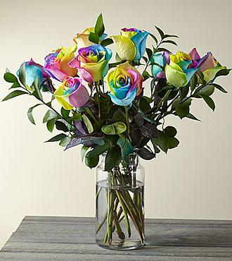 Time to Celebrate Rainbow Rose Bouquet - 12 Stems - VASE INCLUDED