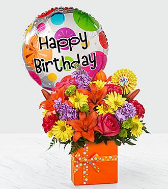 The FTD® Set to Celebrate™ Birthday Bouquet -Birthday Balloon and VASE INCLUDED