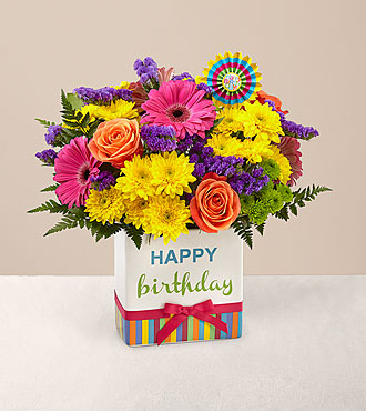 Birthday Brights™ Bouquet - VASE INCLUDED