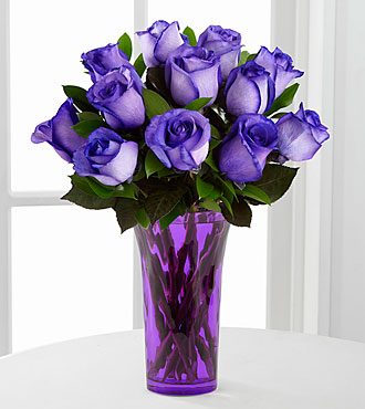 popping purple fiesta rose bouquet 12 stems vase included