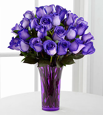 Popping Purple Fiesta Rose Bouquet - 24 Stems - VASE INCLUDED