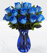 Extreme Blue Hues Fiesta Rose Bouquet - 12 Stems - VASE INCLUDED