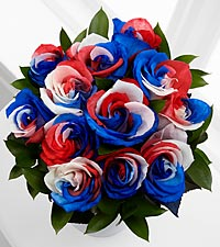 Bless the U.S.A. Fiesta Rose Bouquet - 12 Stems, No Vase