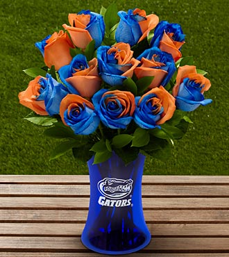 The FTD® University of Florida® Gators® Rose Bouquet - 12 Stems - VASE INCLUDED