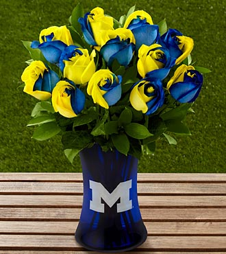 The FTD® University of Michigan™ Wolverines™ Rose Bouquet - 12 Stems - VASE INCLUDED