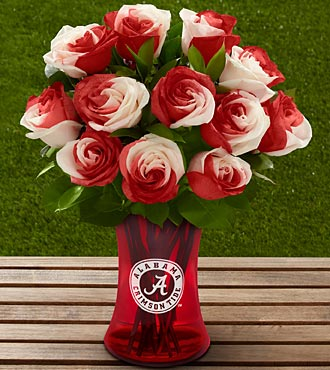 The FTD® University of Alabama® Crimson Tide® Rose Bouquet - 12 Stems - VASE INCLUDED