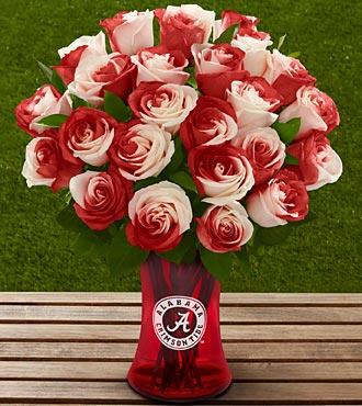 The FTD® University of Alabama® Crimson Tide® Rose Bouquet - 24 Stems - VASE INCLUDED