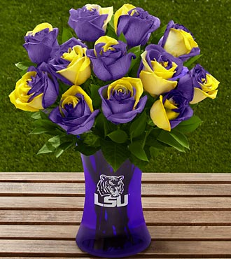 The FTD® Louisiana State University® Tigers™ Rose Bouquet - 12 Stems - VASE INCLUDED
