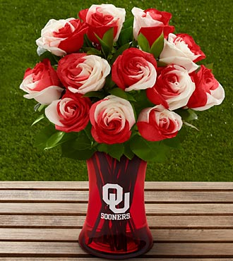 The FTD® University of Oklahoma® Sooners® Rose Bouquet - 12 Stems - VASE INCLUDED