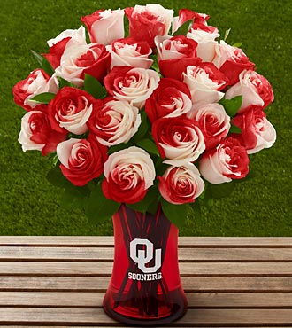 The FTD® University of Oklahoma® Sooners® Rose Bouquet - 24 Stems - VASE INCLUDED