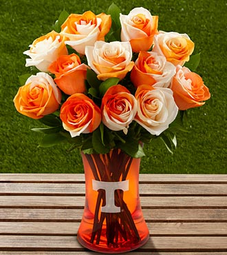 The FTD® University of Tennessee® Vols® Rose Bouquet - 12 Stems - VASE INCLUDED