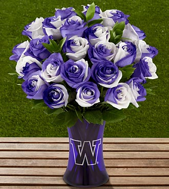 The FTD® University of Washington® Huskies® Rose Bouquet - 24 Stems - VASE INCLUDED