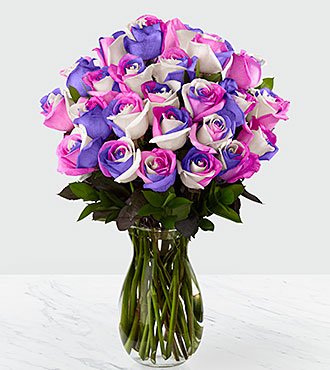 Loving Wishes Fiesta Rose Bouquet - 24 Stems - VASE INCLUDED