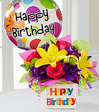 The Happy Birthday Bouquet by FTD® - BALLOON & VASE INCLUDED