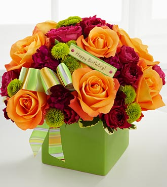the birthday bouquet by ftd®  vase included, Natural flower
