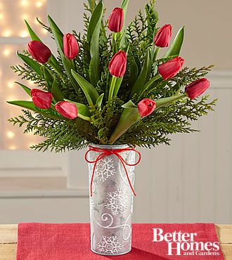 The FTD® Snowfall Sightings Holiday Tulip Bouquet by Better Homes and Gardens® VASE INCLUDED