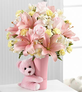The Baby Girl Big Hug 174 Bouquet Vase Included