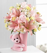 the baby girl big hug bouquet by ftd vase included