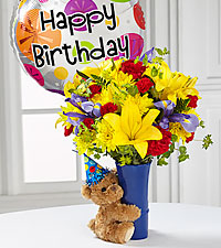 The FTD® Big Hug® Birthday Bouquet- Birthday Balloon Included