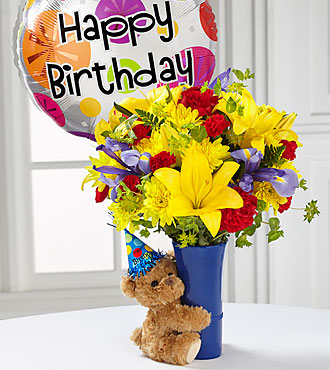 The FTD® Big Hug® Birthday Bouquet- Birthday Balloon and VASE INCLUDED