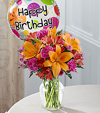 The FTD® Light of My Life™ Bouquet -Birthday Balloon and VASE INCLUDED