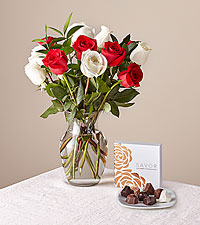 Nutcracker Rose Bouquet and Assorted Chocolates Bundle