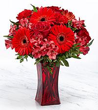 Le bouquet Red Reveal™ – VASE INCLUS