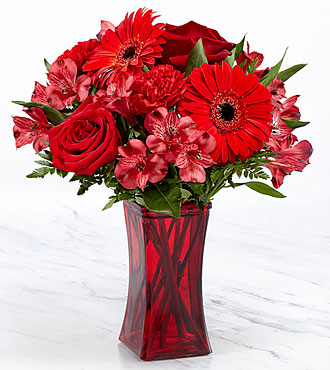 Le bouquet Red Reveal™ – VASE INCLUS