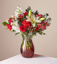 Deluxe Red Velvet Bouquet with Red Vase