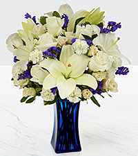 The FTD® Beyond Blue™ Bouquet - Blue & White- VASE INCLUDED